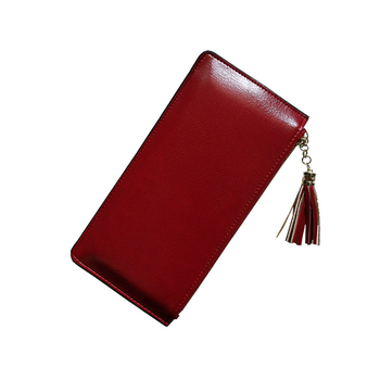 Promotional PU Leather Coin Purse Custom Women Wallet Pouch with Tassel