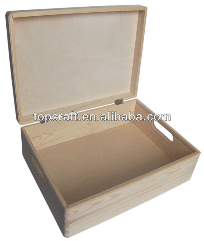 BIG PLAIN WOOD KEEPSAKE SOUVENIRS MEMORY BOX