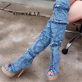 4a56b912c Европейские модные летние пикантные джинсовые сапоги выше колени на высокой  платформе женские вечерние Стилет на высоком