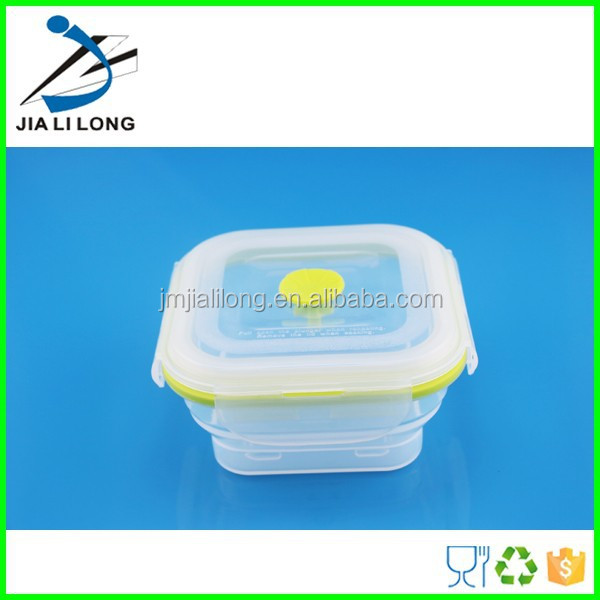 Microwave foldable silicone food storage bins