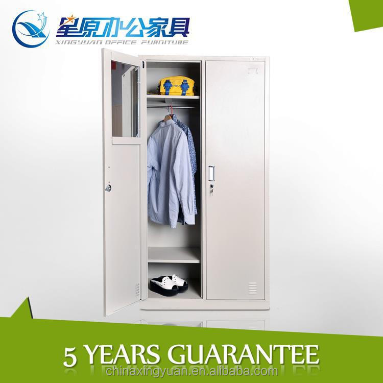 ... Hanging Clothes Storage Cabinet 2 Door Steel Locker Wardrobe With Mirror