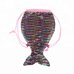 Magic Mermaid Tail Drawstring Sequins Backpack Flip Sequin Beach Hiking Bag