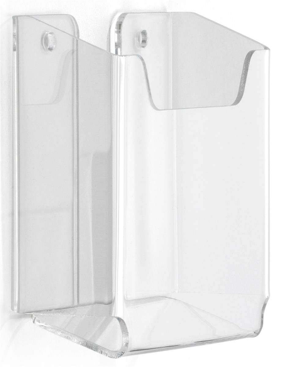 Wall Mounted Clear Acrylic Brochure Holder, Frameless Design, 3-3/4 x 3-3/8 x 1-1/8-Inch - Sold In A Set Of 20