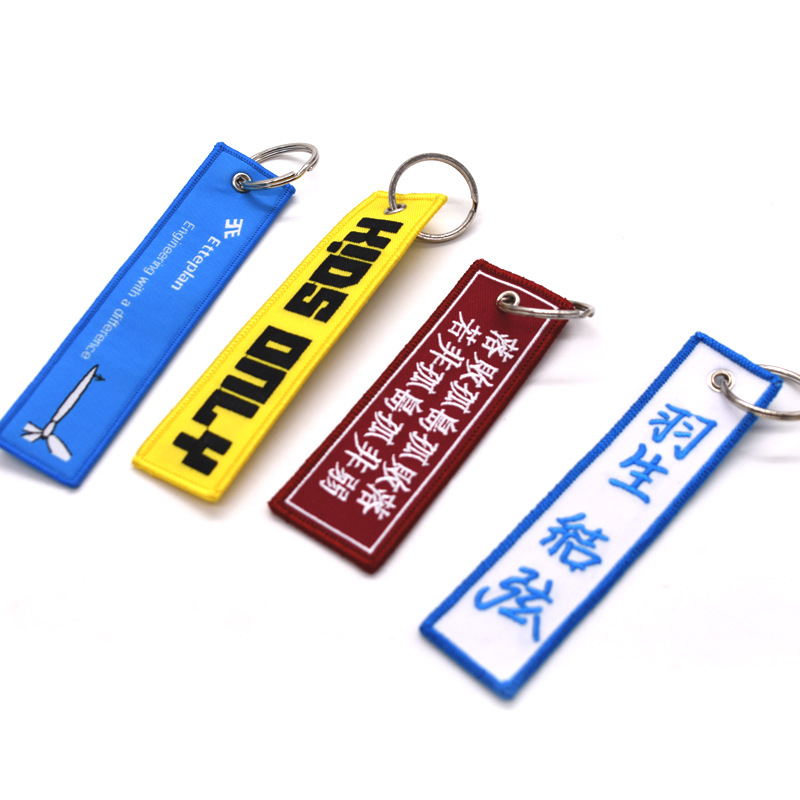 High Quality Custom Logo Embroidery Fabric Keychain for Promotional gift