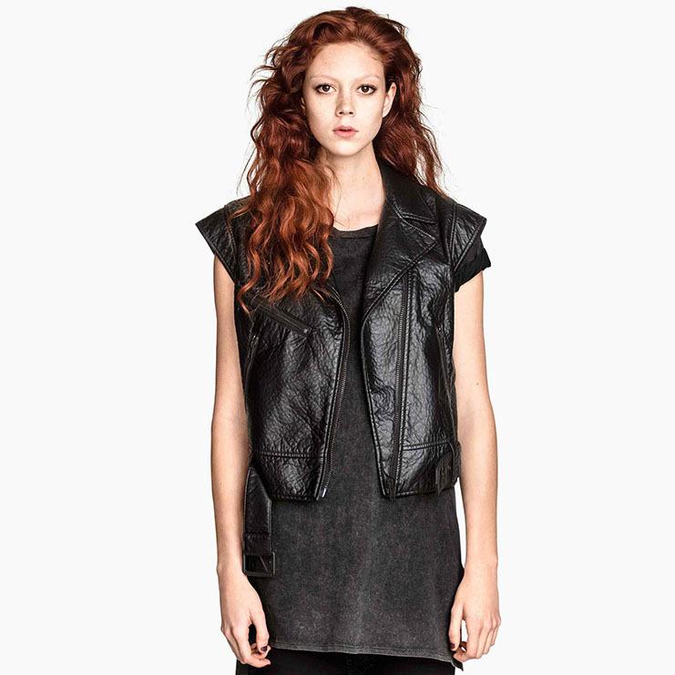 65a66f0d89 Get Quotations · America Style Fashion Women Leather Vest Autumn Winter  Women Faux Leather Short Biker Jackets Sleeveless