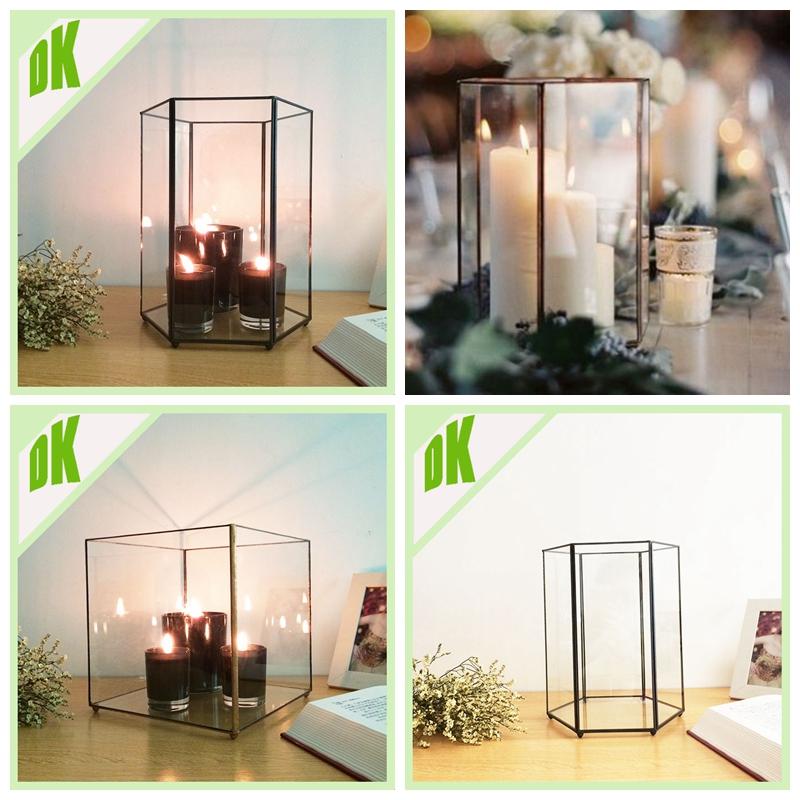 Perfect Decorative Glass Orb Flower Vase Square Pedestal Base Geometric  IB82