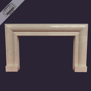 High end polished beige marble modern fireplace for custom home