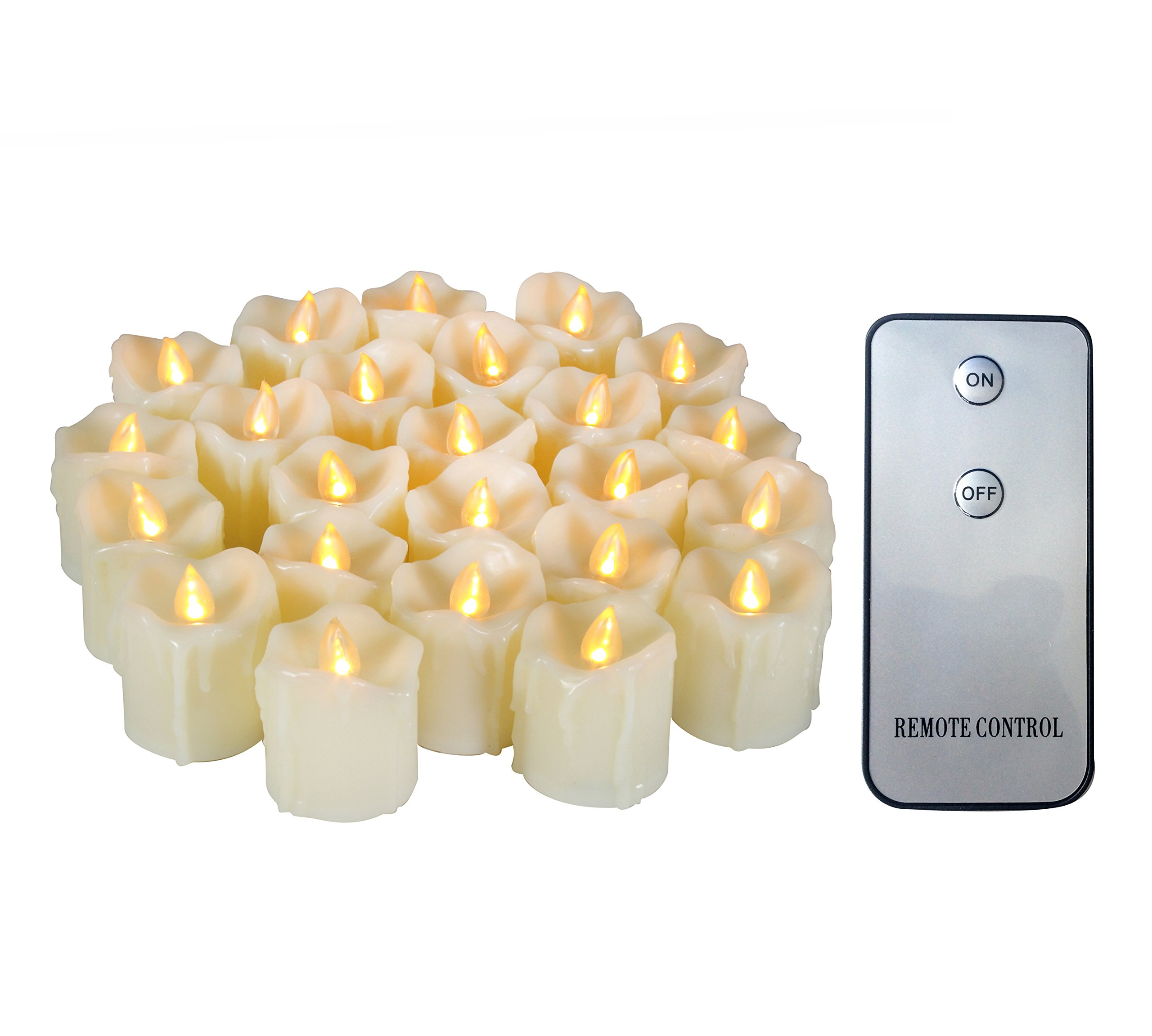 Get quotations · candle choice 24 pack realistic flameless votive candles bright battery operated led votives with remote