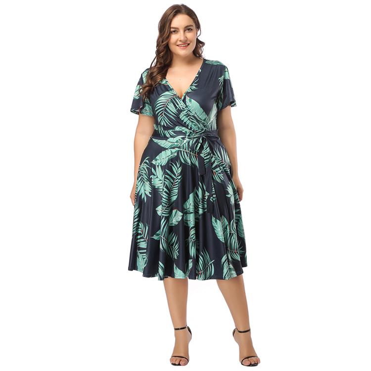 Terbaik Menjual Gaya Baru Fashion Wanita Print Bunga Hijau Normal