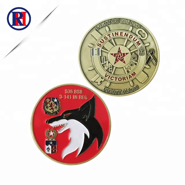 plating antique gold military challenge coin soft enamel zhongshan renhui metal for free <strong>design</strong>