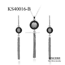 stylish jewelry set of silver 925 and ceramic