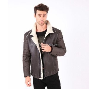 Latest Design Contrast Long Sleeve Winter Warm Faux Leather Men's Shearling Coat