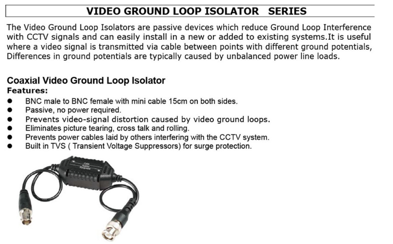 Gsd Video Ground Loop Isolator (with Filter Ground Wire Isolation ...