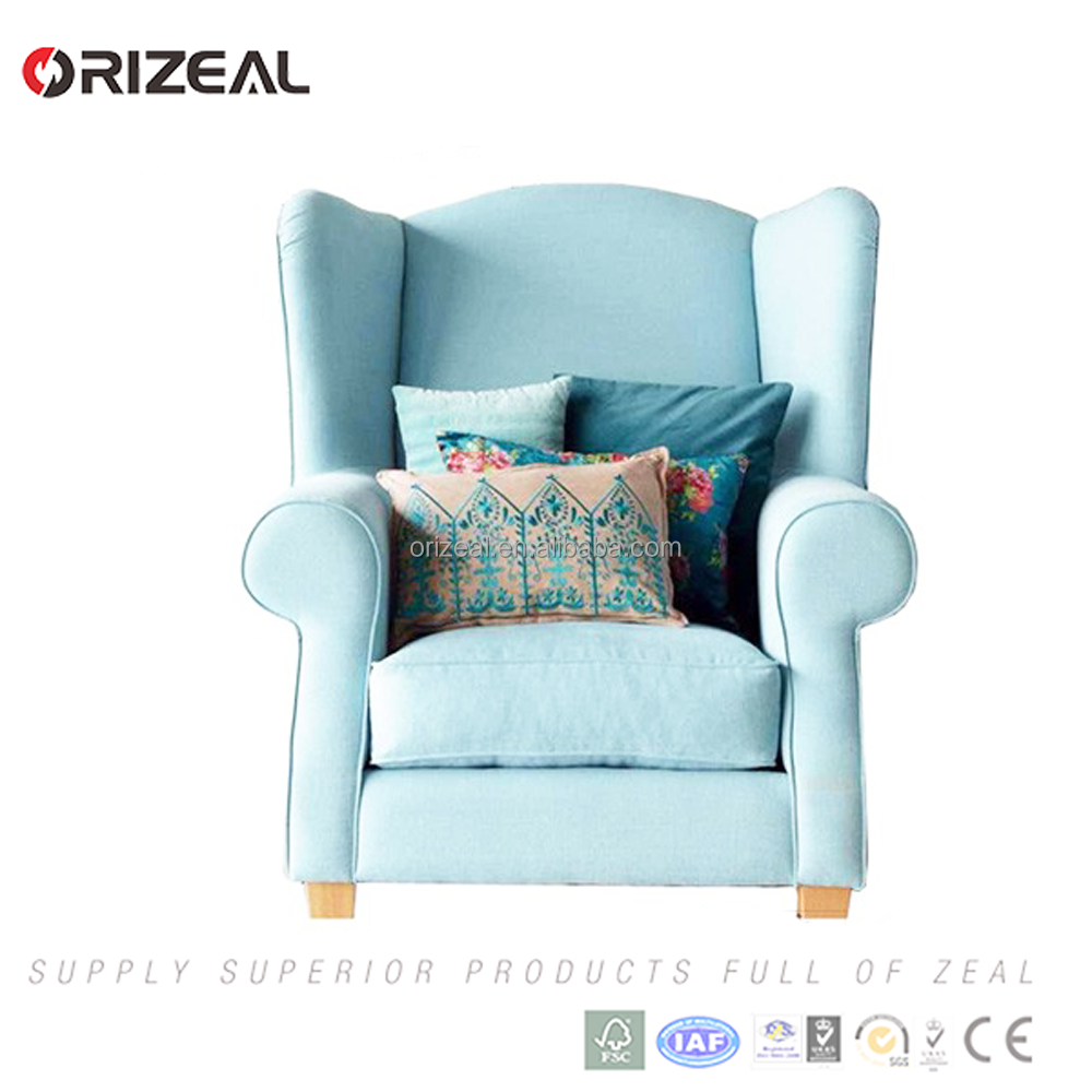 Luxury Royal Furniture Antique Club Arm Chair Full High Quality Fabric Smile Wing Chair