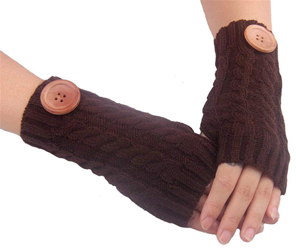 AnVei-Nao Womens Ladies Winter Warm Button Knitted Fingerless Work Gloves Mitten