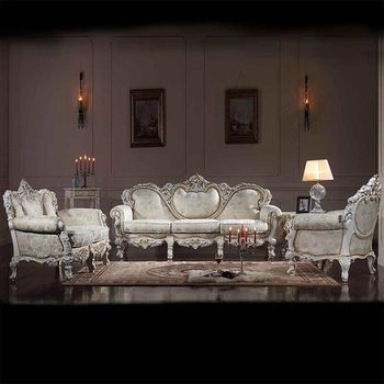 French Empire Furniture  Hand Carved Leaf Gilding Sofa Set Luxury Living  Room Furniture Sofa Set