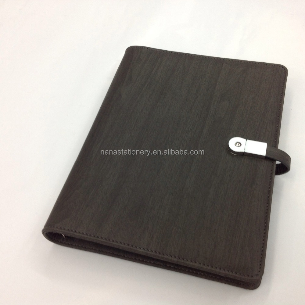 Luxury leather organizer notebook with USB and power bank