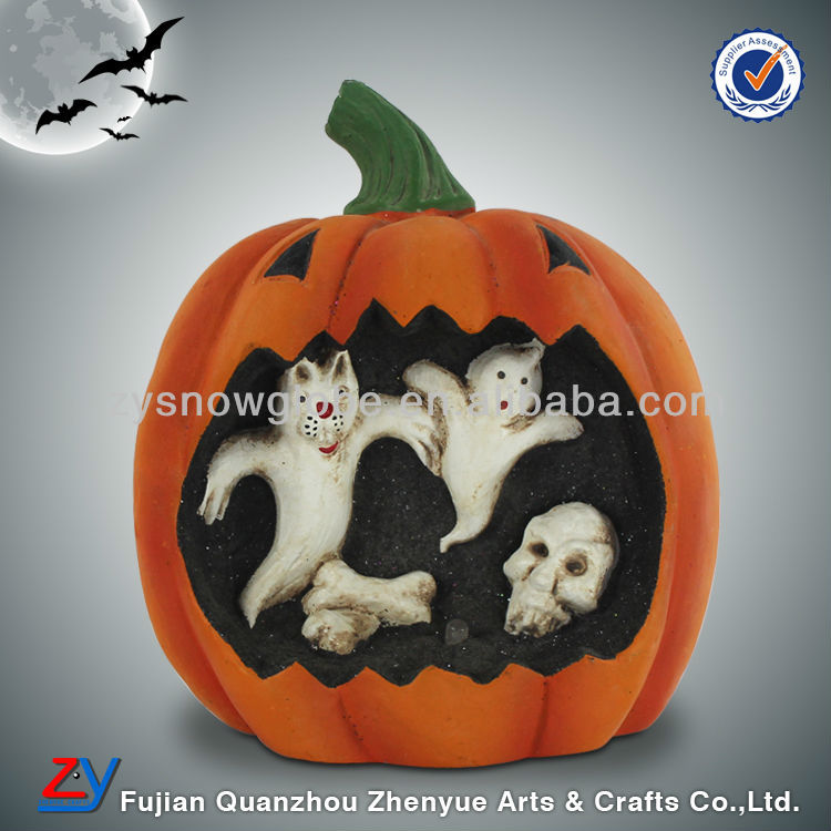 Handmade ceramic halloween pumpkin ghost