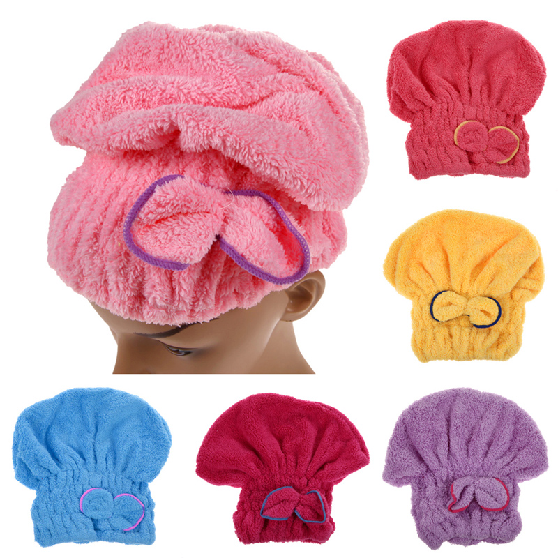 1PCS Home Textile Microfiber Solid Hair Turban Quickly Dry Hair Hat Wrapped Towel Bath 6 Colors