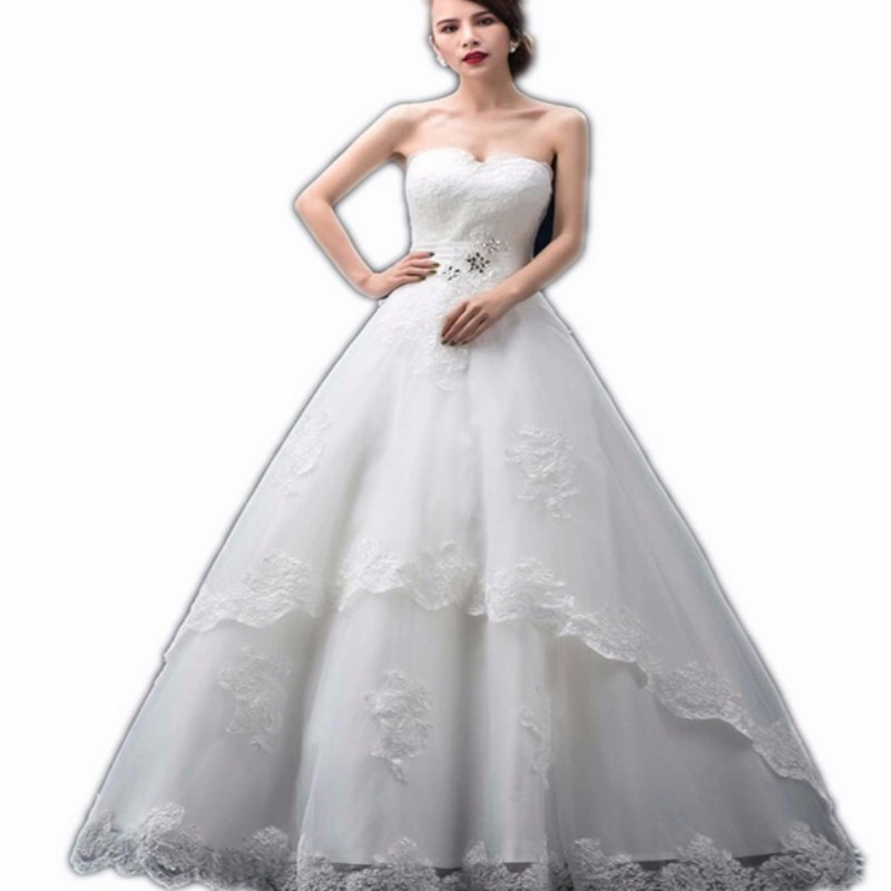 Charming White Ball Gown Sweetheart Appliques Crystal Lace Wedding Dress Bride Dresses Floor Length Long Wedding Gowns