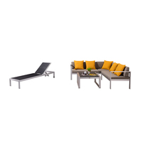 Garden Corner Sofa Set L Shaped Aluminum Brushed Recliner Lounge Sofa