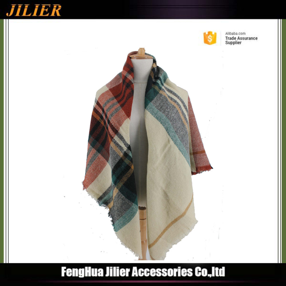 Jilier High Quality Classic Plaid Scarf WithTassels Stripe Lady Winter Dress Wraps and Shawls