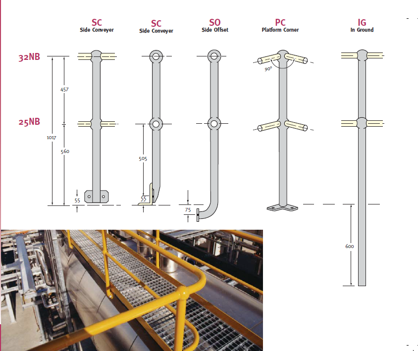 Galvanized Industrial Steel Metal Handrails Stanchions