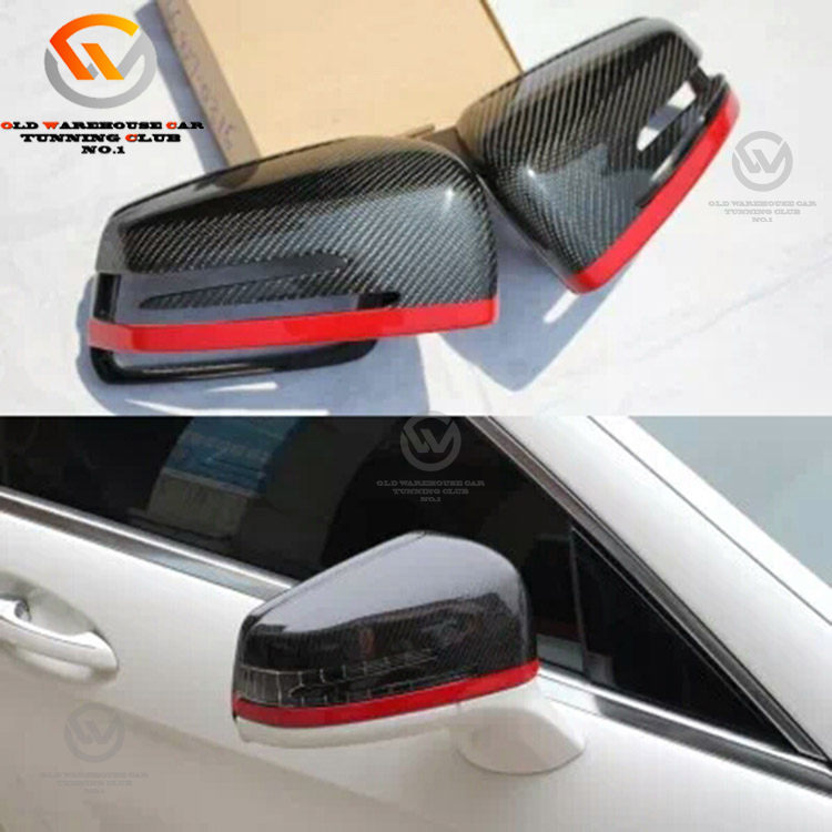 Carbon Fiber Car Rear View Side Mirror Cover Cap With Red Line New Design For Car C Class W204 C63 Auto Accessories