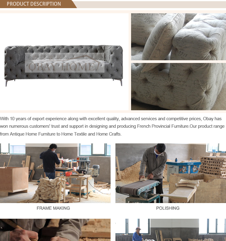 Manufactory Top Quality Velvet Sofa Full Tufted Furniture Wholesale Fabric Sofa