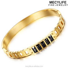 MECYLIFE Black Stone Luxury Fashion Stainless Steel LOVE Couple Bracelet