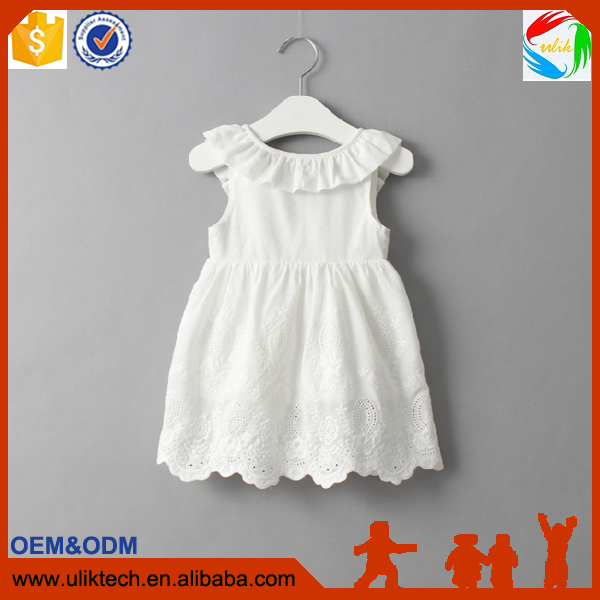 China factory manufacturer girl dress cheapest white 100% cotton dress fashion designs one piece baby dress