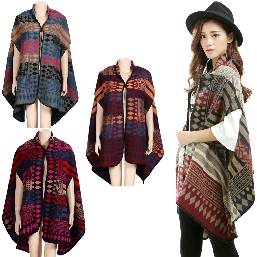 New Vintage Women Winter Poncho Cape Contrast Geometric Pattern Warm Cardigan Long Shawl Scarf Pashmina