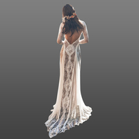 2018 Sexy Open Back Boho Bridal Wedding Gown Long Sleeve Garden Country Lace Dresses