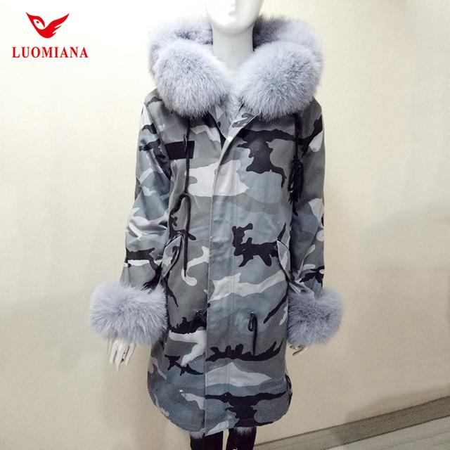 New arrival wholesale custom women down coat jackets camouflage fur hood winter real fur parka