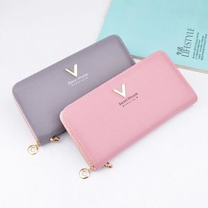 Fashion Customized design PVC leather women travel wallet with Buckle