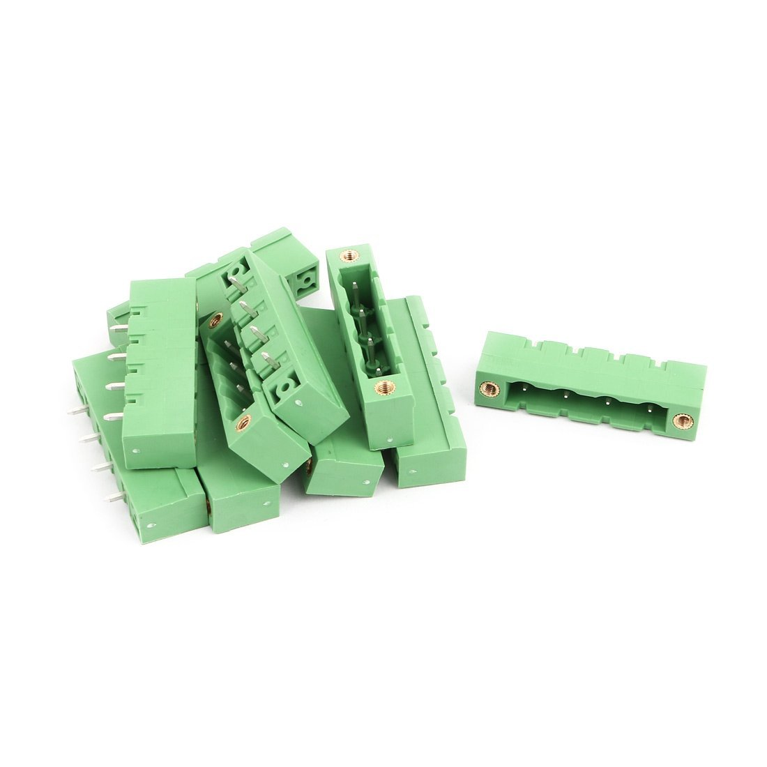 uxcell 10Pcs AC 300V 15A 7.62mm Pitch 4P Terminal Block Wire Connection for PCB Mounting
