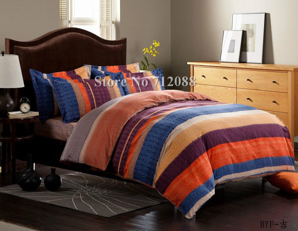 Free Shipping,blue orange purple stripe bed sheets linens ...