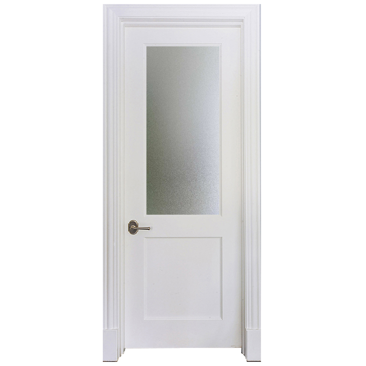 Modern Design Interior Half Frosted Glass Wooden Water Resistant Bathroom Door