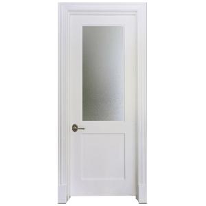 Modern Design Interior Half Frosted Glass Wooden Water Resistant Bathroom  Door