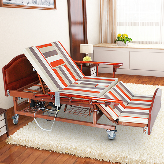 Home caring electric rotating adjustable backrest and footrest bed