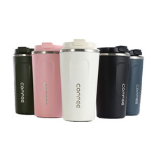 Grosir 12/17 Oz Double Wall 18/8 Termos Kopi Vacuum Insulated Perjalanan Stainless Steel Cangkir Kopi