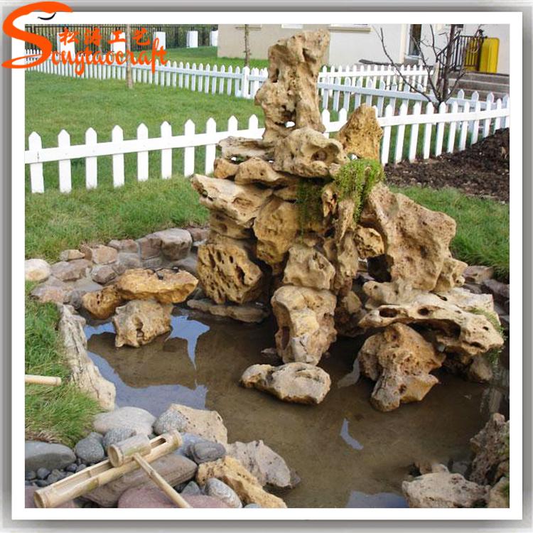 Home And Garden Stone Wall Water Fountains Waterfalls Artificial Fiberglass Garden  Rock Waterfall Decoration