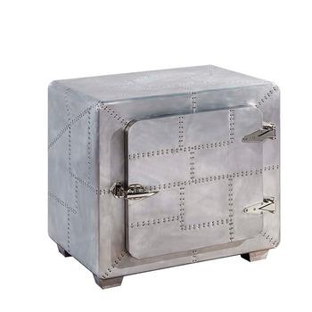 Decorative Side Table Aluminum Vintage Metal Cabinets