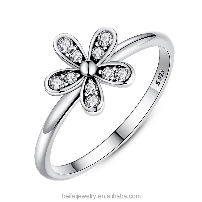 fine jewelry flower design 925 sterling silver clear CZ ring,fashion jewelry