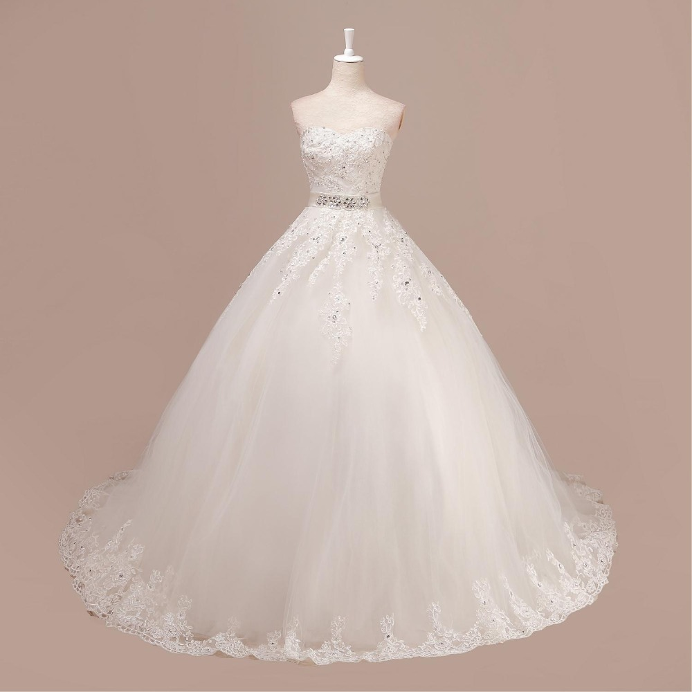 WDZ5 Sweetheart Beading Sex Sleeveless Appliques Ball Gown Wedding Dress