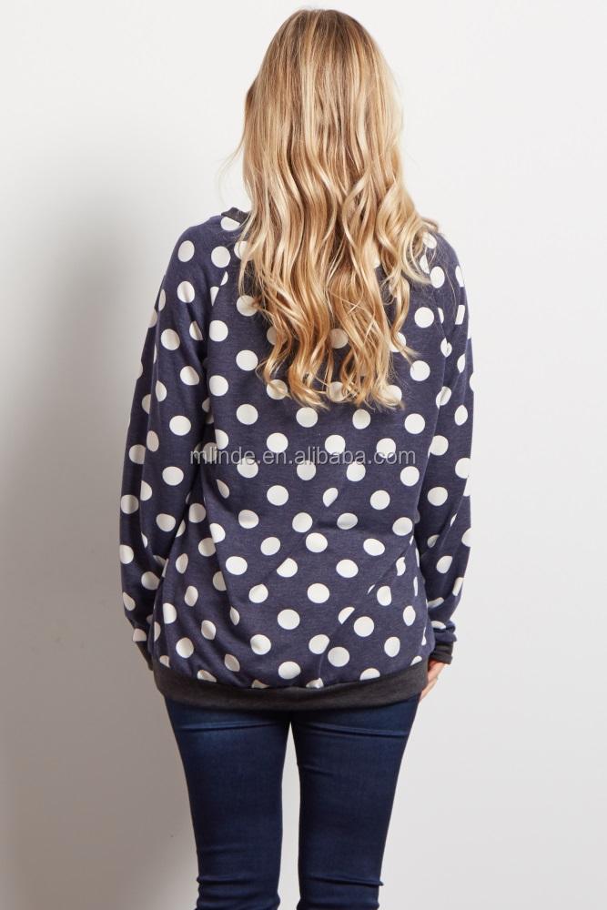 28de96930c Servicio del OEM diseño personalizado manga larga azul marino Polka Dot  knit blusa moda suéter de