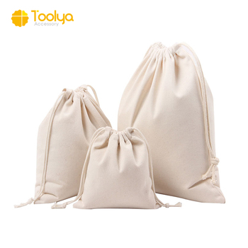 Wholesale Custom small pure color plain canvas cotton muslin drawstring bag