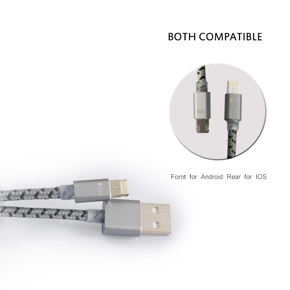 usb type-c mobile charge retractable cable metal housing 2 in one cable