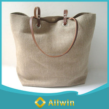 Custom high quality jute beach tote bag with leather handle