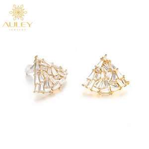 Small solid cheap gold plated earrings cubic zirconia stud earrings designs diamond gold earrings studs